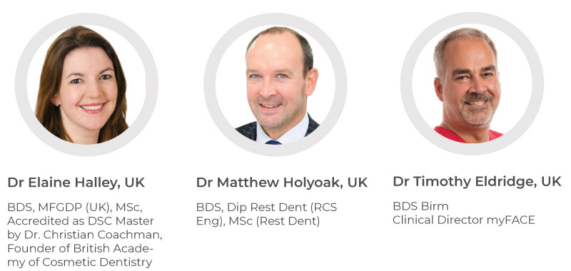 Dr Elaine Halley, UK - BDS, MFGDP (UK), MSc, Accredited as DSC Master by Dr. Christian Coachman, Founder of British Academy of Cosmetic Dentistry. Dr Matthew Holyoak, UK - BDS, Dip Rest Dent (RCS Eng), MSc (Rest Dent). Dr Timothy Eldridge, UK - BDS Birm Clinical Director myFACE