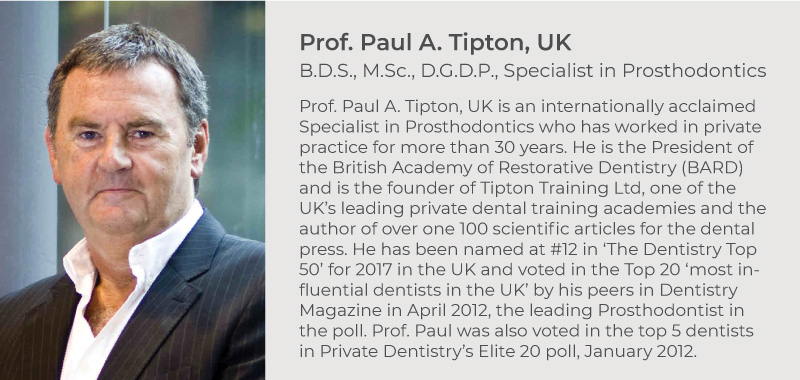 Prof. Paul A. Tipton, UK. B.D.S., M.Sc., D.G.D.P., Specialist in Prosthodontics. Prof. Paul A. Tipton, UK is an internationally acclaimed Specialist in Prosthodontics who has worked in private practice for more than 30 years. He is the President of the British Academy of Restorative Dentistry (BARD) and is the founder of Tipton Training Ltd, one of the UK's leading private dental training academies and the author of over one 100 scientific articles for the dental press. He has been named at #12 in 'The Dentistry Top 50' for 2017 in the UK and voted in the Top 20 'most influential dentists in the UK' by his peers in Dentistry Magazine in April 2012, the leading Prosthodontist in the poll. Prof. Paul was also voted in the top 5 dentists in Private Dentistry's Elite 20 poll, January 2012.
